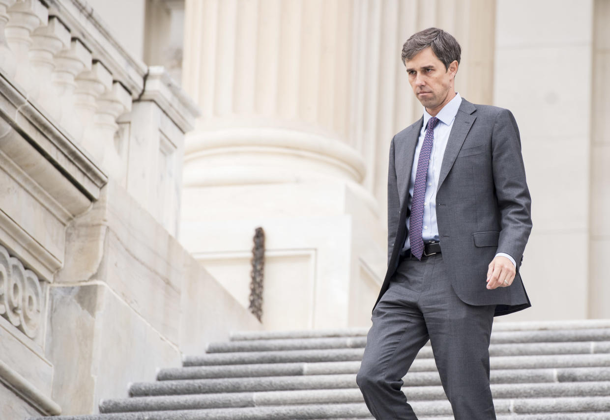 Rep. Beto O'Rourke, D-Texas, walks down the House steps following a vote in the Capitol in 2017. (Photo: Bill Clark/CQ Roll Call)