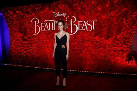 """Cast member Watson poses at the premiere of """"Beauty and the Beast"""" in Los Angeles"""