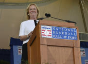 National Baseball Hall of Fame chair Jane Forbes Clark speaks during an induction ceremony at the Clark Sports Center, Sunday, July 21, 2019, in Cooperstown, N.Y. (AP Photo/Hans Pennink)