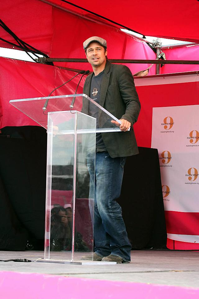"""Brad Pitt was in New Orleans to promote """"Make it Right"""" - a project to rebuild 150 homes destroyed by Hurricane Katrina. VWR/<a href=""""http://www.x17online.com"""" target=""""new"""">X17 Online</a> - December 3, 2007"""