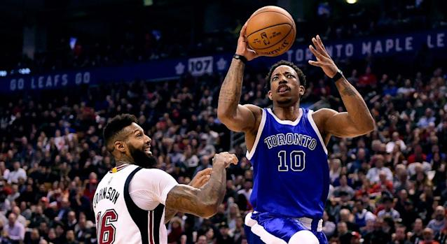 Toronto Raptors star DeMar DeRozan scored 38 points Friday to break a long-standing record held by franchise icon Vince Carter. (THE CANADIAN PRESS/Frank Gunn)