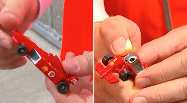 This looks like a normal toy car but actually hides a lighter inside. Source: 7 News