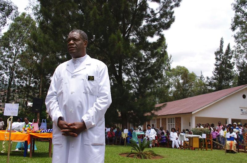 Congolese surgeon and gynaecologist Dr. Denis Mukege poses at Panzi Hospital in the outskirts of Bukavu, eastern DR Congo on March 18, 2015 (AFP Photo/Marc Jourdier)