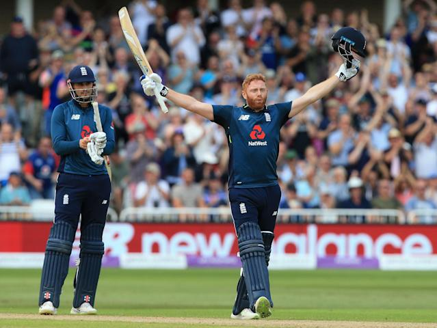 Jonny Bairstow salutes the crowd after reaching his hundred in just 69 ballsS