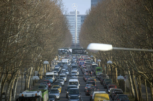 <p> In this Feb. 21, 2018 photo cars jam in Stuttgart, southern Germany. A German court began considering Thursday, Feb. 22, 2018 whether authorities should ban diesel cars from cities to lower air pollution, a move that could have drastic consequences for the country's powerful auto industry. (Marijan Murat/dpa via AP) </p>