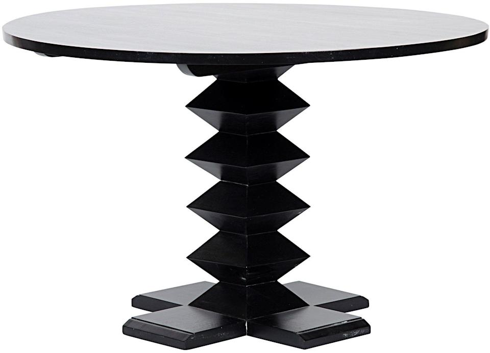 """<p><strong>Noir</strong></p><p>burkedecor.com</p><p><strong>$2300.00</strong></p><p><a href=""""https://www.burkedecor.com/products/zig-zag-base-dining-table-48-by-noir"""" rel=""""nofollow noopener"""" target=""""_blank"""" data-ylk=""""slk:Shop Now"""" class=""""link rapid-noclick-resp"""">Shop Now</a></p><p>A zigzag table base is a low-key way to incorporate the trend into your space in a functional way. </p>"""