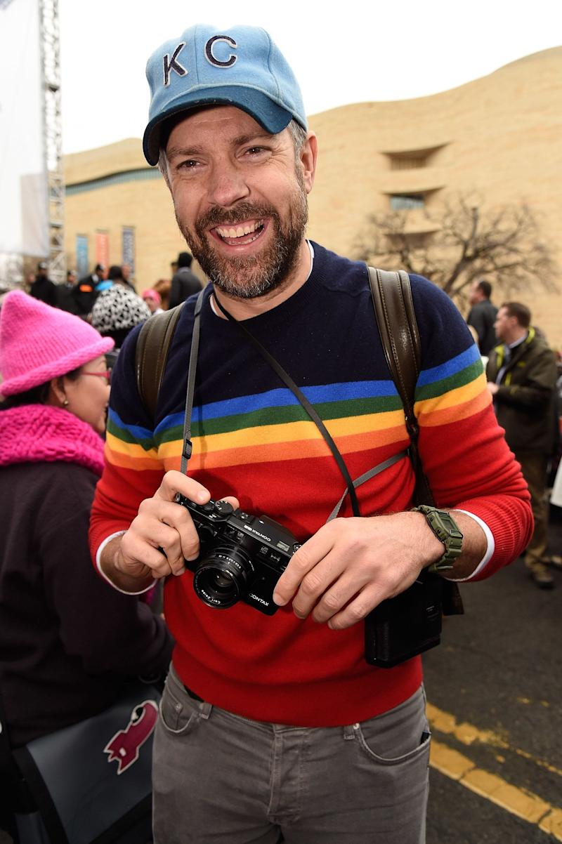 Jason Sudeikis attends the rally at the Women's March on Washington, DC.