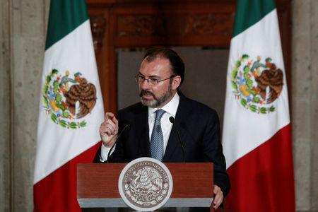 Mexico's Foreign Minister Luis Videgaray addresses the audience during a meeting with members of the diplomatic corps in Mexico City, Mexico January 11, 2017.  REUTERS/Carlos Jasso