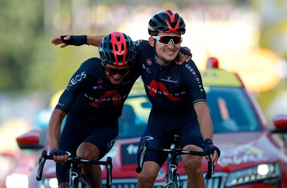 Team Ineos rider Polands Michal Kwiatkowski R celebrates as he crosses the finish line ahead of Team Ineos rider Ecuadors Richard Carapaz during the 18th stage of the 107th edition of the Tour de France cycling race 168 km between Meribel and La Roche sur Foron on September 17 2020 Photo by STEPHANE MAHE  POOL  AFP Photo by STEPHANE MAHEPOOLAFP via Getty Images
