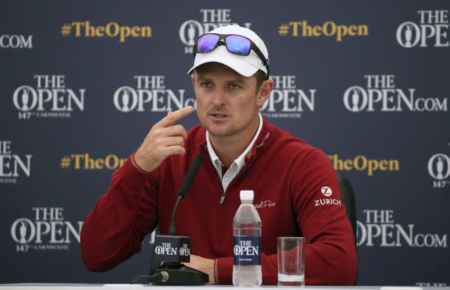 England's Justin Rose speaks during a press conference on preview day three of The Open Championship 2018 at Carnoustie Golf Links, Angus, Scotland, Tuesday, July 17, 2018. Justin Roses best finish at a British Open remains his tie for fourth at Royal Birkdale in 1998, when he was an amateur. He doesnt understand why. Rose says I'm kind of comfortable with how bad my record's been here ... and I don't feel like there's a reason for it either. (Jane Barlow/PA via AP)