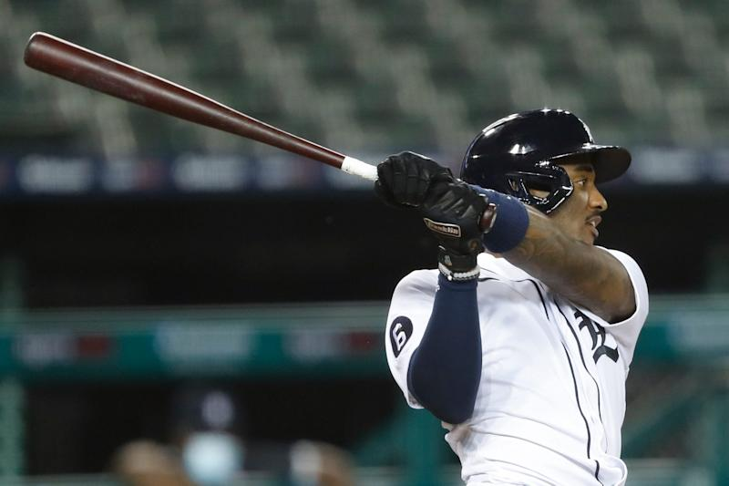 Detroit Tigers shortstop Niko Goodrum hits an RBI double during the sixth inning against the Chicago Cubs at Comerica Park, Aug. 26, 2020.