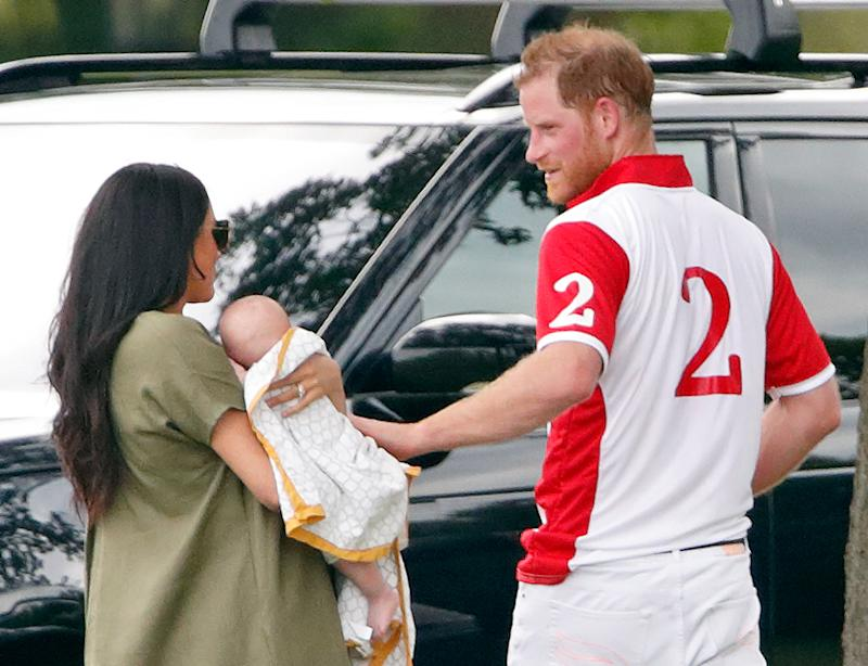 WOKINGHAM, UNITED KINGDOM - JULY 10: (EMBARGOED FOR PUBLICATION IN UK NEWSPAPERS UNTIL 24 HOURS AFTER CREATE DATE AND TIME) Meghan, Duchess of Sussex, Archie Harrison Mountbatten-Windsor and Prince Harry, Duke of Sussex attend the King Power Royal Charity Polo Match, in which Prince William, Duke of Cambridge and Prince Harry, Duke of Sussex were competing for the Khun Vichai Srivaddhanaprabha Memorial Polo Trophy at Billingbear Polo Club on July 10, 2019 in Wokingham, England. (Photo by Max Mumby/Indigo/Getty Images)