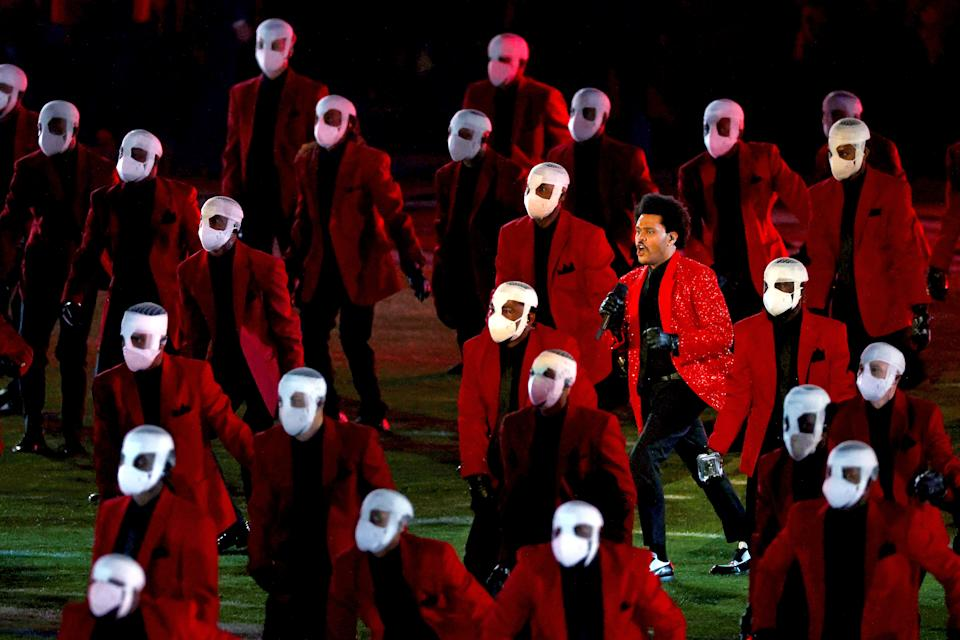 <p>TAMPA, FLORIDA - FEBRUARY 07: The Weeknd performs during the Pepsi Super Bowl LV Halftime Show at Raymond James Stadium on February 07, 2021 in Tampa, Florida. (Photo by Kevin C. Cox/Getty Images)</p>