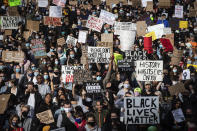 Thousands of people gather for a peaceful demonstration in support of George Floyd and Regis Korchinski-Paquet and protest against racism, injustice and police brutality, in Vancouver, May 31, 2020. (Darryl Dyck/The Canadian Press via AP)