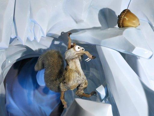 "The US animation films ""Ice Age"" character Scrat, the sabre-toothed squirrel, with its acorn"