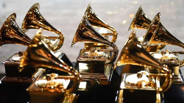 PHOTO: Grammy trophies sit in the press room during the 60th Annual Grammy Awards, Jan. 28, 2018, in New York. (Don Emmert/AFP/Getty Images, FILE)