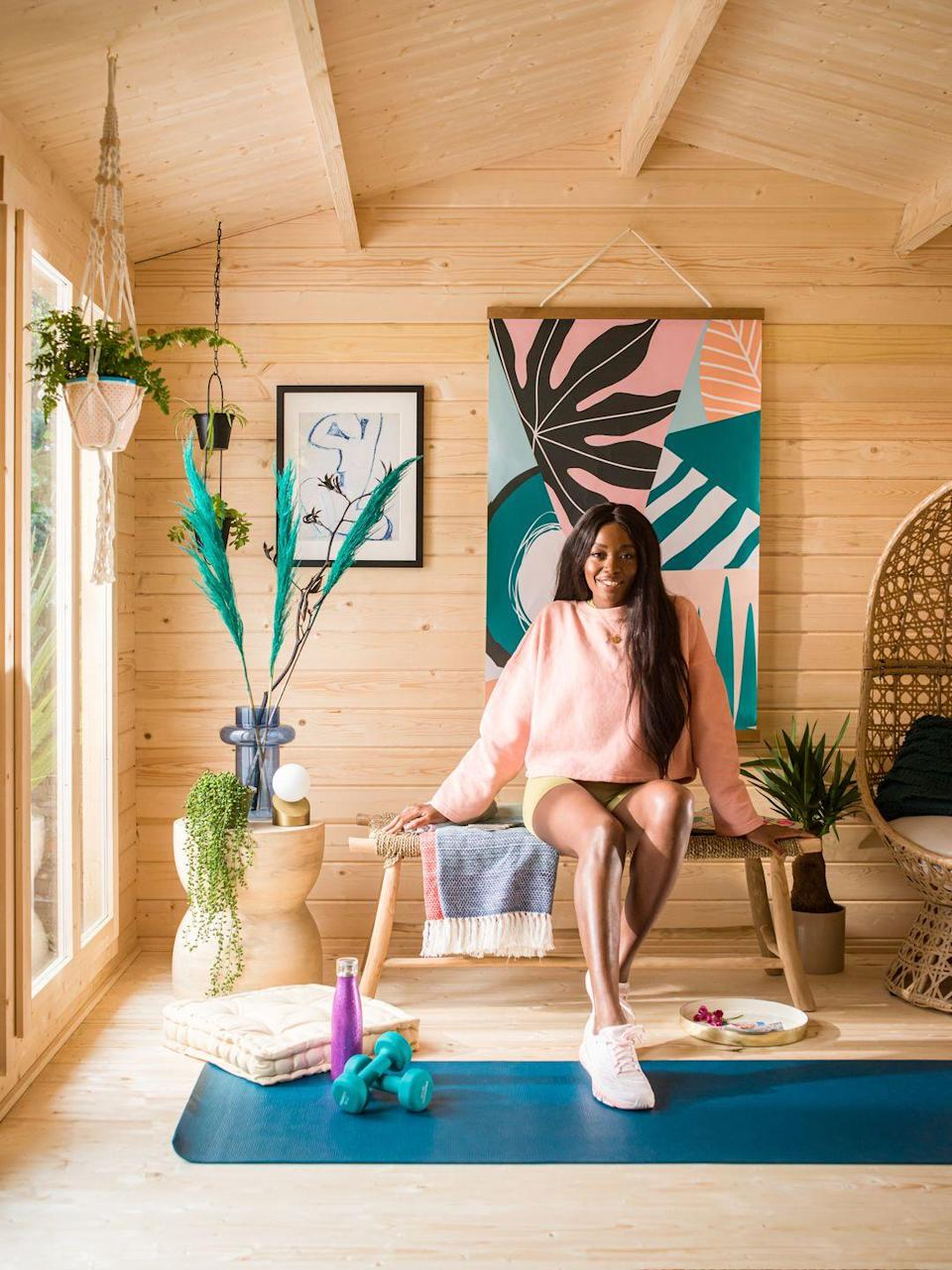 <p>'It was a must-have for me to have a space where I could unwind & do post workout stretches,' explains AJ. 'I'm planning to add some more gym equipment to maximise my workout area but I also want to incorporate a little bar area for summer BBQs – it's all about Yin & Yang.'</p>