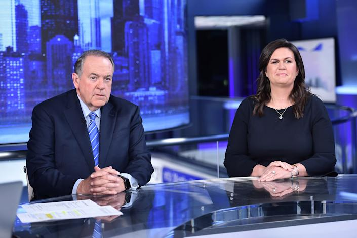 Fox News contributors Gov. Mike Huckabee and his daughter Sarah Huckabee Sanders visit The Story With Martha MacCallum in their first joint interview, on Sept. 17. (Photo: Steven Ferdman/Getty Images)