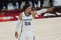 Memphis Grizzlies forward Dillon Brooks (24) gestures to teammates during the first half of Game 5 of their NBA basketball first-round playoff series against the Utah Jazz on Wednesday, June 2, 2021, in Salt Lake City. (AP Photo/Rick Bowmer)