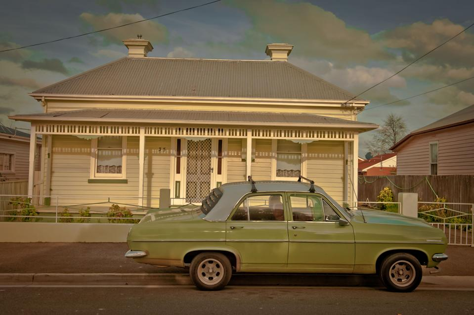 [UNVERIFIED CONTENT] Old Holden car in front of cute bungalow in Invermay, Launceston, back-streets.