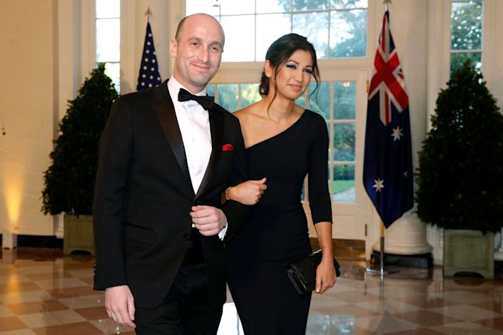 President Donald Trump's White House Senior Adviser Stephen Miller, left, and Katie Waldman, now Miller, arrive for a state dinner at the White House in September 2010. Katie Miller, Vice President Mike Pence's press secretary, has the coronavirus, the White House said Friday, making her the second person who works at the White House complex known to test positive for the virus this week.