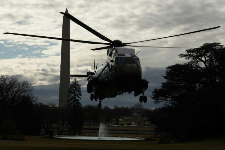 US President Donald Trump's Marine One helicopter lands at the White House on February 7, 2020