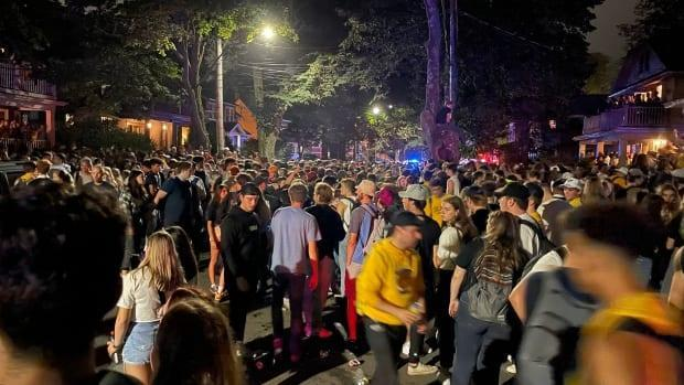 Halifax police say thousands of people attended the Saturday evening party in Halifax. (Mark Doiron/Radio-Canada - image credit)