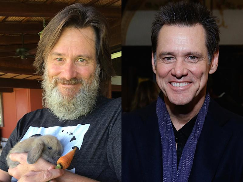 Jim Carrey now sports an unruly beard (at left), but he didn't before (at right).