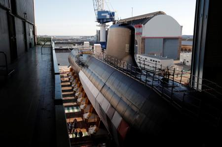 "The French Navy vessel called ""Suffren"", first of the nuclear Barracuda class attack submarines, leaves the workshops of its construction at the Naval Group site in Cherbourg"
