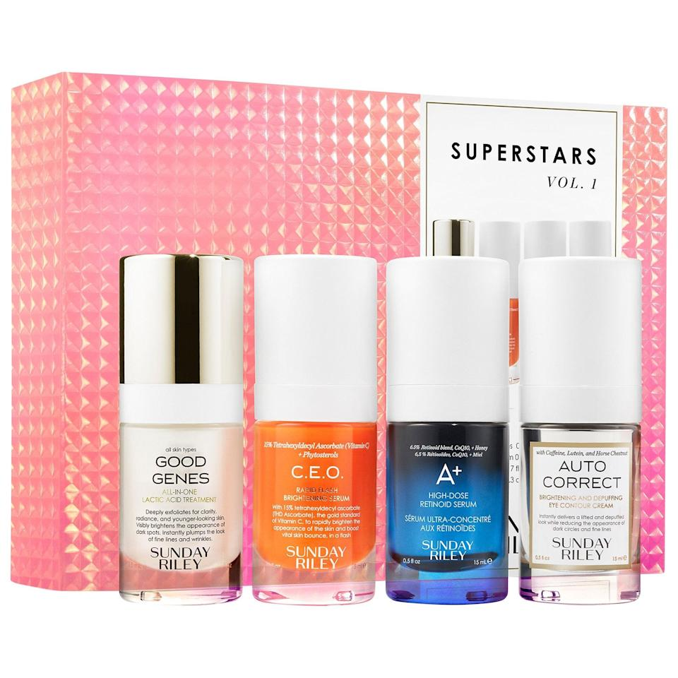 """<h2>Sunday Riley Superstars Kit</h2><br>Sunday Riley offers tons of great treatments, but what you love might not be what your mom needs, so why not gift her a sampler set? The brand's Superstars Kit gives her the opportunity to take four hero products out for a test drive to find her serum of choice.<br><br><strong>Sunday Riley</strong> Superstars Kit, $, available at <a href=""""https://go.skimresources.com/?id=30283X879131&url=https%3A%2F%2Fwww.sephora.com%2Fproduct%2Fsunday-riley-superstars-kit-P455235%3Ficid2%3Dproducts%2520grid%3Ap455235%3Aproduct"""" rel=""""nofollow noopener"""" target=""""_blank"""" data-ylk=""""slk:Sephora"""" class=""""link rapid-noclick-resp"""">Sephora</a>"""