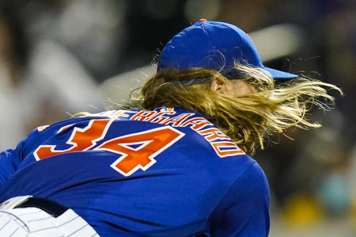 New York Mets' Noah Syndergaard pitches during the first inning in the second baseball game of a doubleheader against the Miami Marlins Tuesday, Sept. 28, 2021, in New York. (AP Photo/Frank Franklin II)