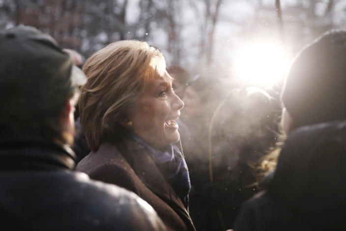 <p>Democratic presidential candidate Hillary Clinton campaigns outside a polling place during the first-in-the-nation presidential primary, Feb. 9, 2016, in Manchester, N.H. <i>(Photo: Matt Rourke/AP)</i></p>