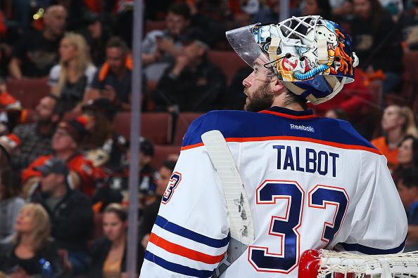 ANAHEIM, CA - MAY 5: Cam Talbot #33 of the Edmonton Oilers watches a replay after a goal in Game Five of the Western Conference Second Round against the Anaheim Ducks during the 2017 NHL Stanley Cup Playoffs at Honda Center on May 5, 2017 in Anaheim, California. (Photo by Debora Robinson/NHLI via Getty Images)
