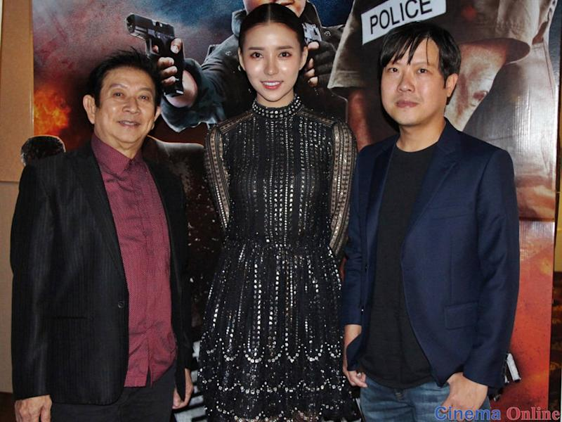 """Michael Chuah (right) with his """"Red Storm"""" cast Henry Thia (left) and Venice Min (middle)."""
