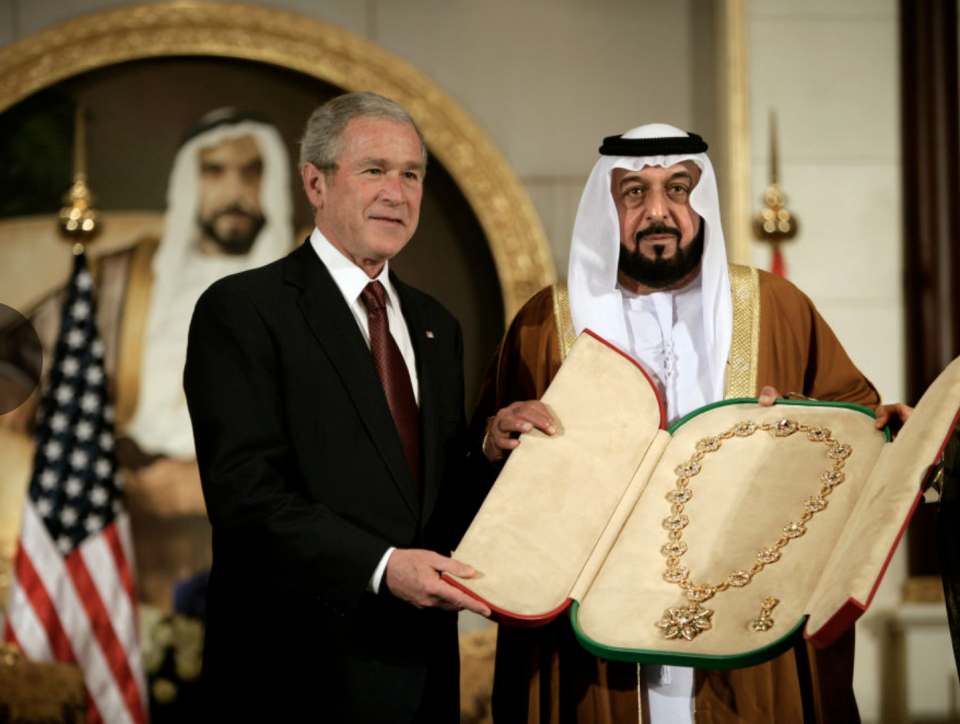 "<p>President George W. Bush received this <a href=""https://www.aol.com/article/news/2017/01/26/what-happens-when-a-gift-is-given-to-the-united-states-president/21663421/#slide=4366678#fullscreen"" data-ylk=""slk:solid gold sash"" class=""link rapid-noclick-resp"">solid gold sash</a> from Arab Emirates' President Sheikh Khalifa. </p>"