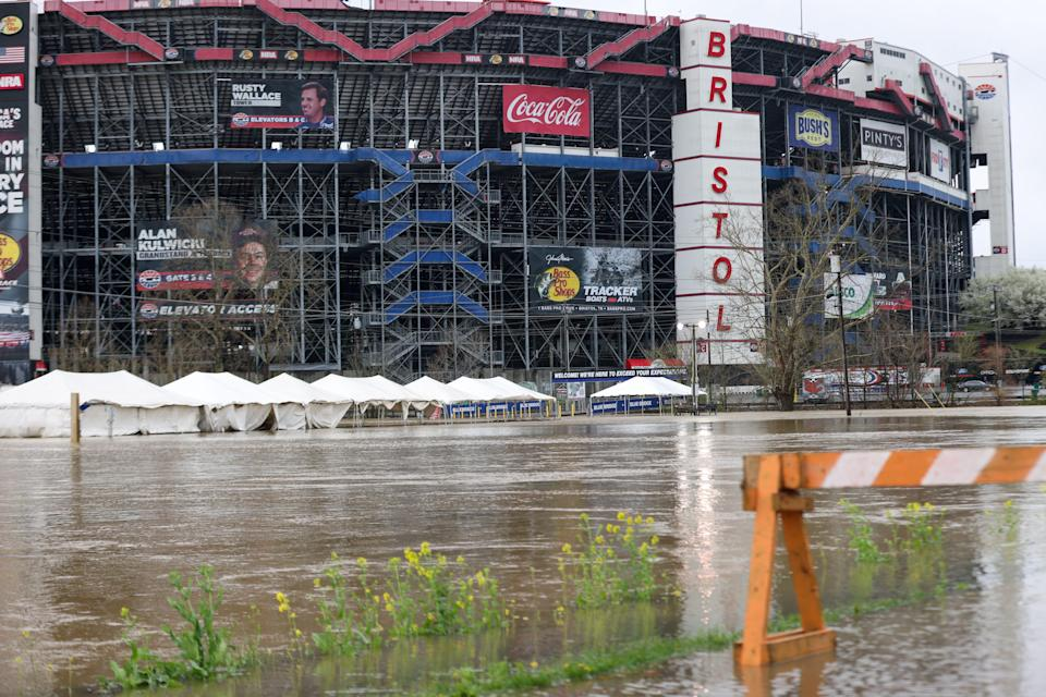 Severe rain and some flooding hit Bristol Motor Speedway and the surrounding area on Sunday.