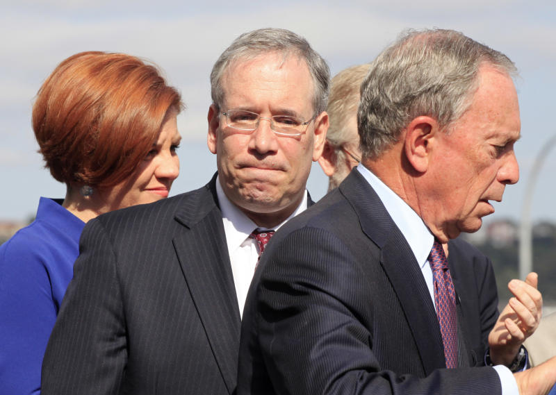 In this photo of Sept. 20, 2012, New York Mayor Michael Bloomberg, right, speaks at a ceremony in New York. City Council Speaker Christine Quinn, left, and Scott Stringer, center, Manhattan borough president, are both possible candidates to succeed Bloomberg. New York City's 2013 mayoral race doesn't fully kick off until after voters are done picking a president. But some of the city's top political players are already jockeying for position, preparing to introduce themselves to voters who haven't paid much attention to who will succeed Michael Bloomberg, the billionaire mayor who has defined City Hall for more than a decade. (AP Photo/Mark Lennihan)