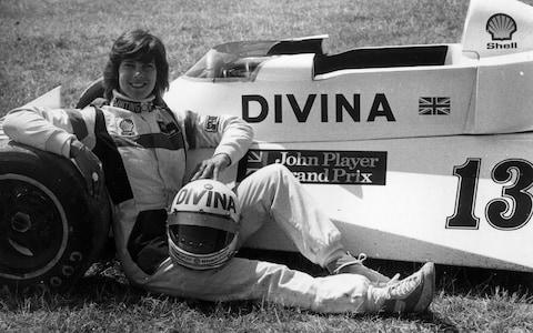 Divina Galica with her car at Brands Hatch in 1976 - Credit: Hulton Archive
