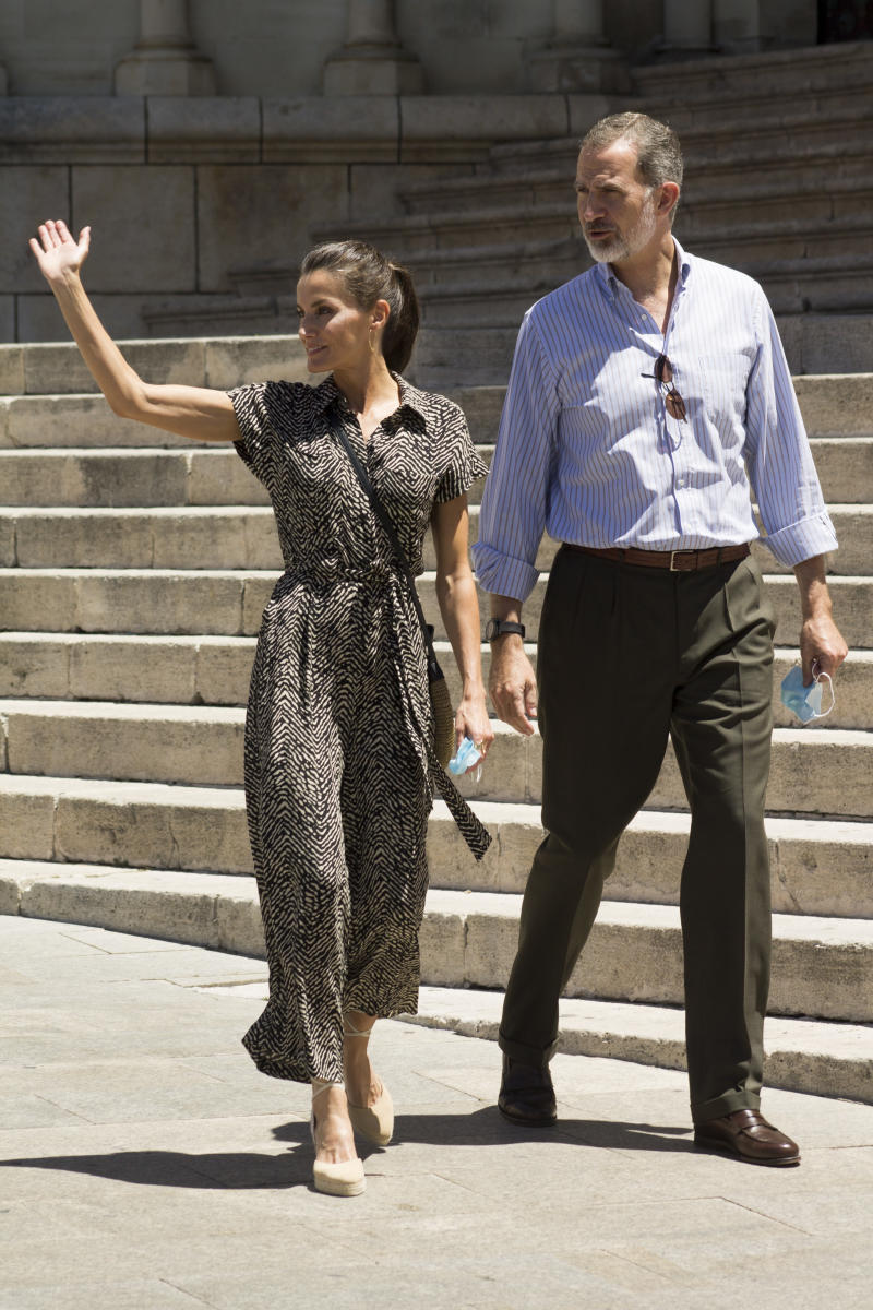 King Felipe of Spain and Queen Letizia of Spain walk around Cuenca in Spain as part of a royal tour to visit several Spanish Autonomous Communities. (Getty Images)