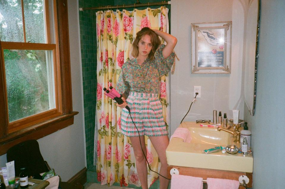 Maya Hawke wears a Liberty floral-print blouse and tweed shorts from Zac Posen's SS19 collection. (Photo: Courtesy of Zac Posen)