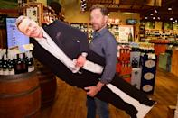 <p>Bryan Cranston poses with a cardboard cutout of himself while celebrating his Dos Hombres Mezcal at Stew Leonard's Wines & Spirits in Norwalk, Connecticut on June 7. </p>