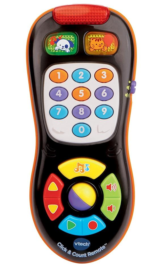 "<p>This <a href=""https://www.popsugar.com/buy/VTech-Click-Count-Remote-98533?p_name=VTech%20Click%20and%20Count%20Remote&retailer=amazon.com&pid=98533&price=11&evar1=moms%3Aus&evar9=46016590&evar98=https%3A%2F%2Fwww.popsugar.com%2Fphoto-gallery%2F46016590%2Fimage%2F46016603%2FVTech-Click-Count-Remote&list1=gifts%2Ctoys%2Cgifts%20for%20kids%2Cgifts%20for%20babies&prop13=api&pdata=1"" rel=""nofollow"" data-shoppable-link=""1"" target=""_blank"" class=""ga-track"" data-ga-category=""Related"" data-ga-label=""https://www.amazon.com/VTech-Click-and-Count-Remote/dp/B00GYBEF3C/ref=sr_1_5?s=toys-and-games&amp;ie=UTF8&amp;qid=1506445479&amp;sr=1-5&amp;refinements=p_n_age_range%3A165890011"" data-ga-action=""In-Line Links"">VTech Click and Count Remote</a> ($11) includes 45 sing-along songs, melodies, sound effects, and phrases. Toddlers can pretend-channel surf through nine different channels, including weather and news. The interactive role-play is excellent for early education.</p>"