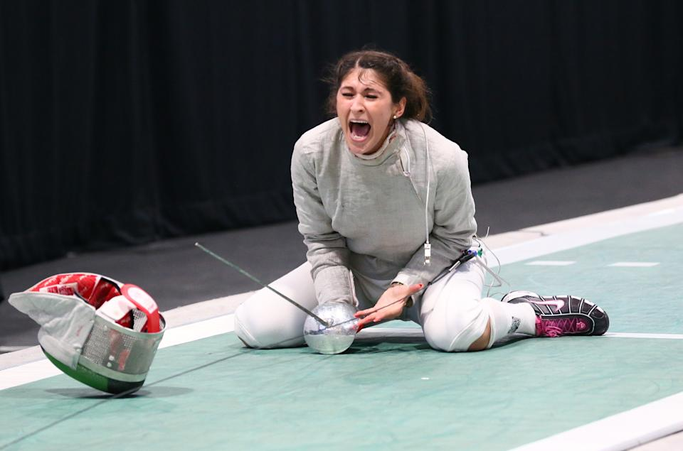 MONTREAL, CANADA - JUNE 17:   Paola Pliego of Mexico celebrates making the winning touch during the gold medal match in the Team Women's Sabre event on June 17, 2017 at the Pan-American Fencing Championships at Centre Pierre-Charbonneau in Montreal, Quebec, Canada. (Photo by Devin Manky/Getty Images)