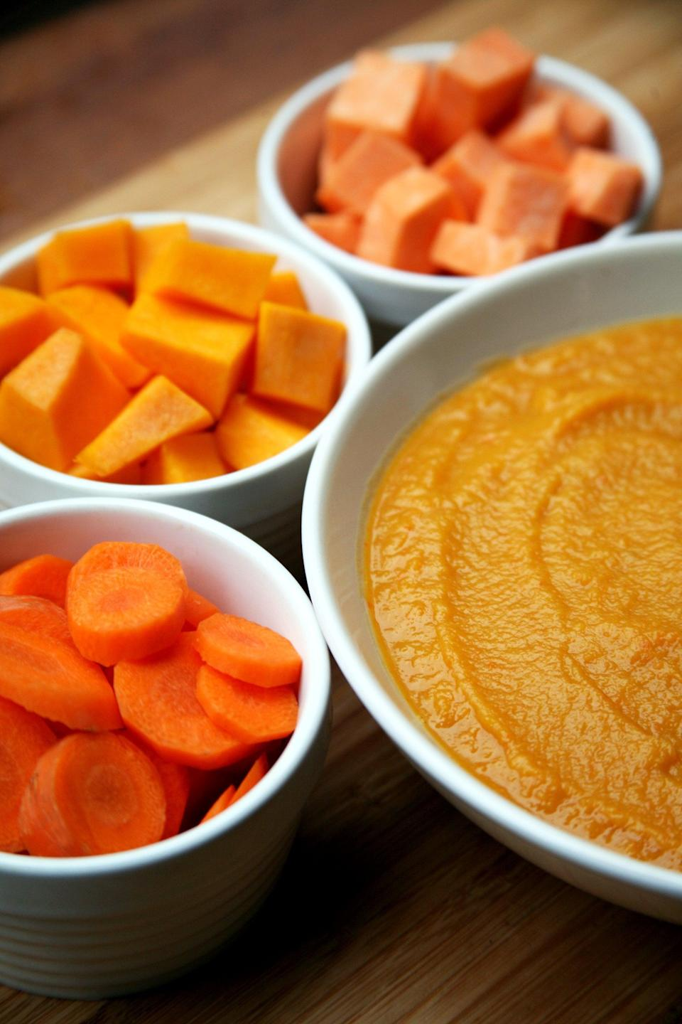 """<p>Packed with both fiber and protein, this creamy and thick soup is a great plant-based dinner option. All it takes is 10 minutes of prep. </p> <p><strong>Get the recipe:</strong> <a href=""""https://www.popsugar.com/fitness/Squash-Sweet-Potato-Carrot-White-Bean-Soup-36020648"""" class=""""link rapid-noclick-resp"""" rel=""""nofollow noopener"""" target=""""_blank"""" data-ylk=""""slk:slow-cooker squash, sweet potato, carrot, and white bean soup"""">slow-cooker squash, sweet potato, carrot, and white bean soup</a></p>"""