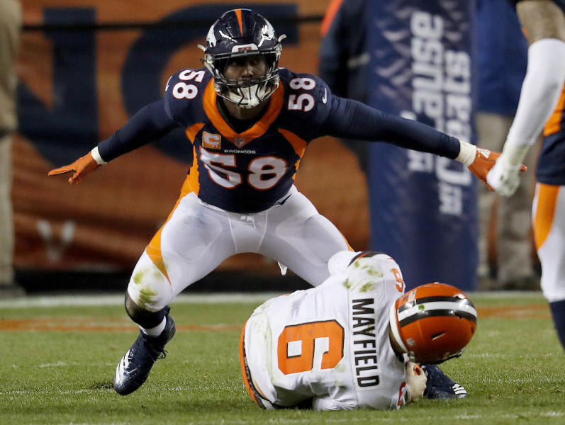 Denver Broncos outside linebacker Von Miller (58) reacts to sacking Cleveland Browns quarterback Baker Mayfield (6) during the second half of an NFL football game, Saturday, Dec. 15, 2018, in Denver. The sack was Miller's 98th career sack making him the all-time Denver Broncos leader in sacks. (AP Photo/David Zalubowski)