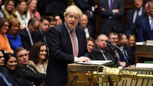 PHOTO: A handout picture taken on December 17, 2019, shows Britain's Prime Minister Boris Johnson speaking in the House of Commons in London, during the first sitting of Parliament since the general election. (Jessica Taylor/AFP via Getty Images)