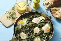 "<p>If you're not opposed to eggs for dinner, these skillet eggs are actually quite hearty and filling. Plus, cooking them in a large skillet means that there's easily enough for people to get seconds. </p><p><strong><em><a href=""https://www.womansday.com/food-recipes/a32320198/skillet-eggs-with-mustard-greens-and-hollandaise-recipe/"" rel=""nofollow noopener"" target=""_blank"" data-ylk=""slk:Get the Skillet Eggs With Mustard Greens and Hollandaise recipe."" class=""link rapid-noclick-resp"">Get the Skillet Eggs With Mustard Greens and Hollandaise recipe. </a></em></strong></p><p><strong><a class=""link rapid-noclick-resp"" href=""https://www.amazon.com/Cuisinart-622-30G-Classic-Nonstick-Hard-Anodized/dp/B0078P9D8K/ref=sr_1_10?dchild=1&keywords=SKILLET&qid=1610039014&sr=8-10&tag=syn-yahoo-20&ascsubtag=%5Bartid%7C10070.g.35142478%5Bsrc%7Cyahoo-us"" rel=""nofollow noopener"" target=""_blank"" data-ylk=""slk:SHOP SKILLETS"">SHOP SKILLETS</a></strong></p>"