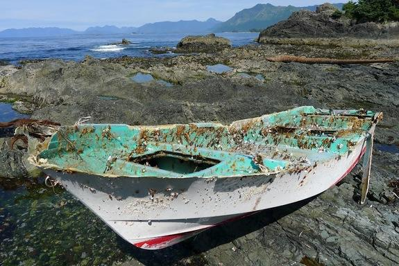 In this photo released by NOAA, a boat lost in the Japanese tsunami of 2011 sits onshore on a remote Canadian island. The boat was discovered Aug. 9, 2012.