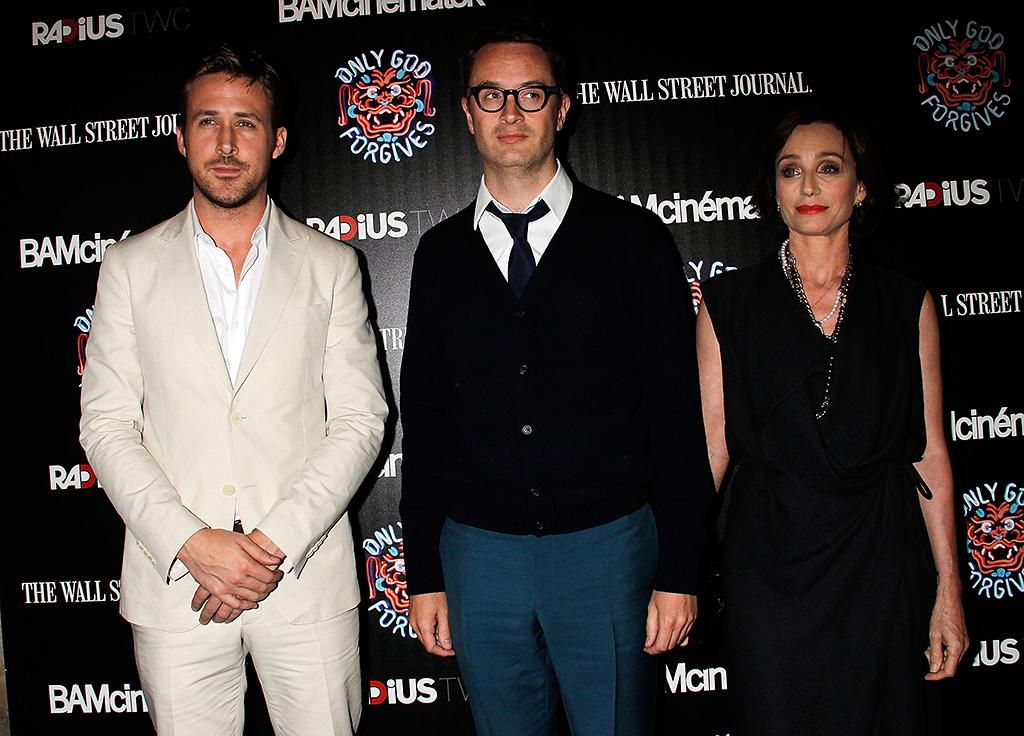 "NEW YORK, NY - JULY 16:  Ryan Gosling, Nicolas Winding Refn and Kristin Scott Thomas  attend ""Only God Forgives"" New York Premiere at BAM Harvey Theater on July 16, 2013 in New York City.  (Photo by Laura Cavanaugh/Getty Images)"