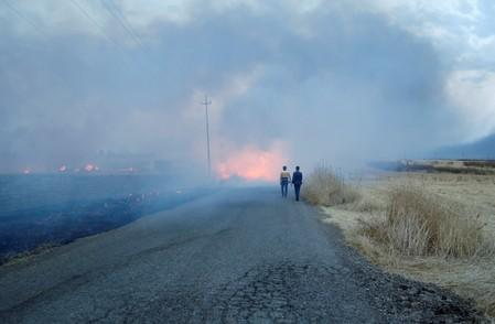 Iraqi men walk near a fire from a wheat field on the outskirts of Mosul